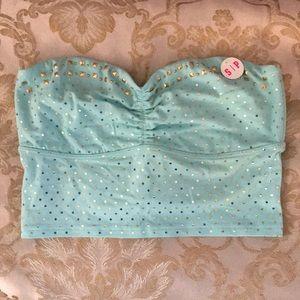 PINK Victoria's Secret Aqua with Gold Stud Bandeau